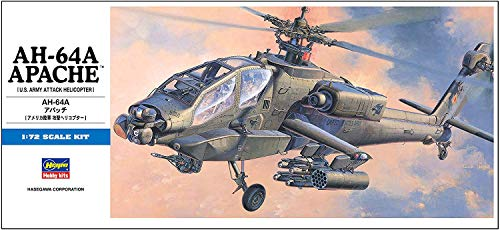 Hasegawa 1/72Scale US AH-64A Apache Attack Helicopter – Aircraft Plastic Model Building Kit #00436