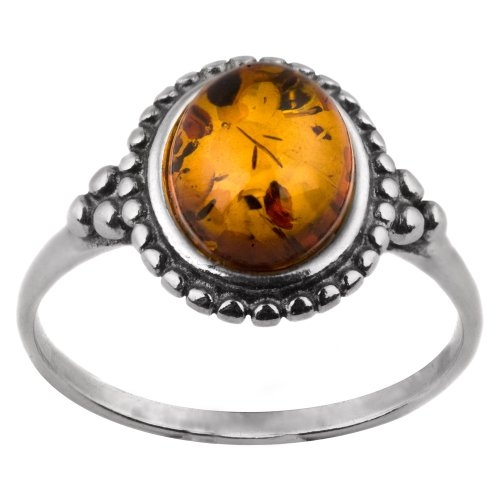 Amber Sterling Silver Oval Stone Victorian Look Ring (Handmade Lion Mask)
