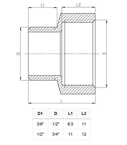 Instalaciones de tuber/ías de reducci/ón de conexi/ón hembra cromo x macho de 1//2 x 3//8