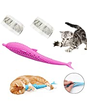 Pet Cat Fish Shape Toothbrush with Catnip Toys - Fish Flop Cat Toy Pet Eco-Friendly Silicone Molar Stick Teeth Cleaning Toy for Kitten Kitty Cats (Pink)