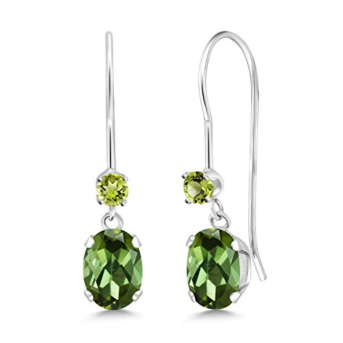 Gem Stone King 0.94 Ct Oval Green Tourmaline Green Peridot 14K White Gold - Peridot Earrings Oval Gold