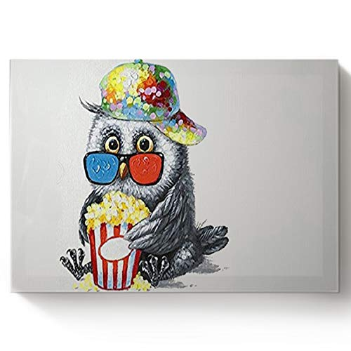 Arts Language Paint by Number Acrylic Kits for Adults Kids DIY Oil Paintings Canvas Framed Wall Art Decor for Livingroom Bedroom-Cute Owl with Popcorn 16x20in ()