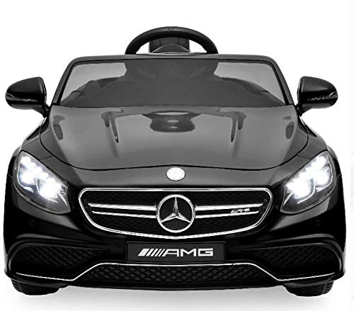 Best Choice Products 12V Kids Battery Powered Licensed Mercedes-Benz S63 Coupe RC Ride-On Car w/ Parent Control, LED Lights, MP3 Player, 3 Speeds - Black]()