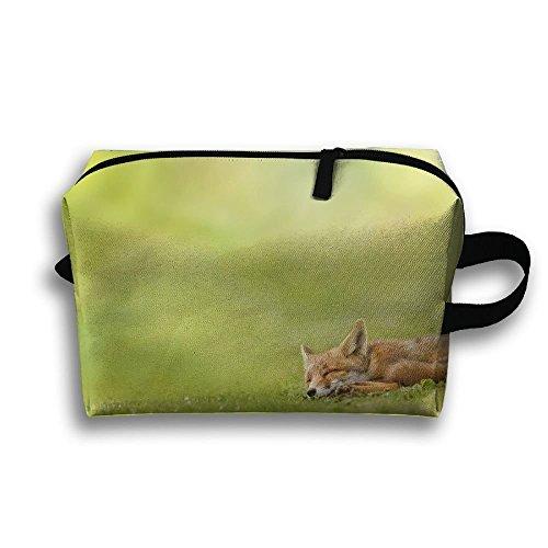 (Lqzdqa Unisex Tourist Bag Fox Sleeps And The Grass Scatter Toiletry Bag Sundry Bag)