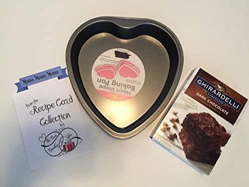 Brownie Baking Pan Set includes Heart Cake Pan, Ghirardelli Brownie Mix Dark Chocolate and Mocha Brownie Recipe ()