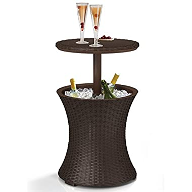 Keter Cool Bar Rattan Style Patio Pool Cooler Table, Brown