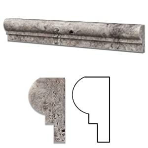 Silver (Pewter Blend) Travertine Honed 2 X 12 Chair Rail Ogee 1 Molding    Standard Quality   BOX Of 15 PCS