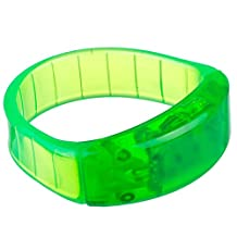 Lilware Dare to Be Visible Hard Plastic Party Bracelet Wristband With LED Flashing Light and Sound Sensor. Green