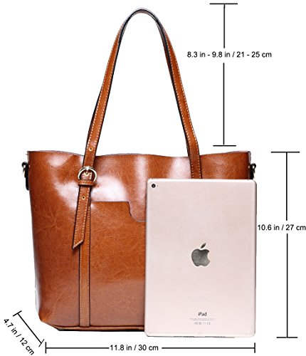 7cbdafe74cc CLELO Women s Tote Bag Vintage Genuine Leather Purse Shoulder Bag Large  Brown