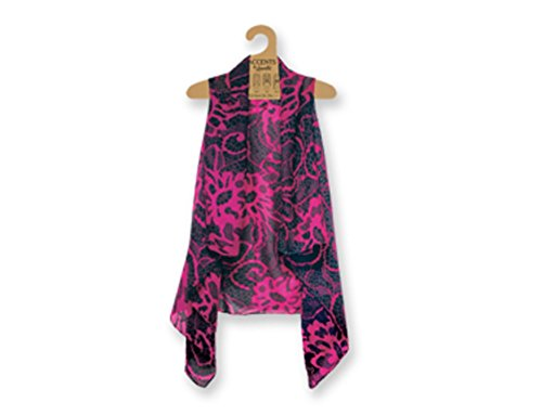 Lavello Sheer Designer Vest, Magenta/Black Lace, One Size from Lavello