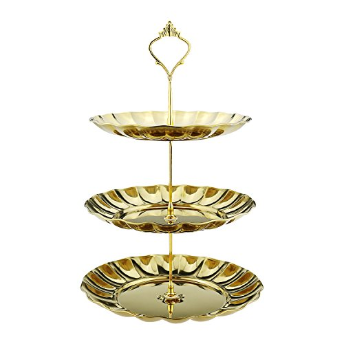 Fruit Plates, Samyoung 3-Tier Stainless Steel Cake Wedding Stand Fruits Desserts Candy Cheese Tableware Plates Display for Wedding Home Gold Party Celebration Gold color. (Gold) ()
