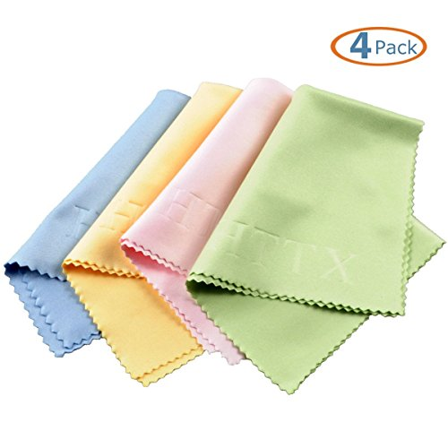 HTTX Microfiber Screen Cleaning Cloths for Cell Phones, Tablets, LCD TV and Laptop, Camera Lenses, Surface Tablet, Monitor, Car GPS Screens, Spectacles, Glasses, Watches 6 x 7 inches - As Sunglasses Eyeglasses Used Can Be