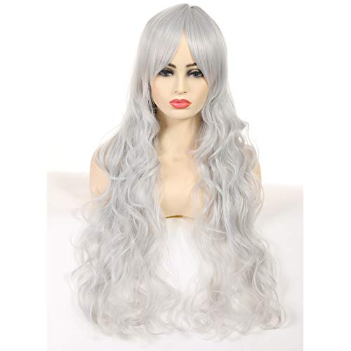 Artemis Synthetic Wig Long Wave Pure Grey for Women Girls Wigs for Halloween Christmas Cosplay Party Heat Resistant Fiber Natural with Hair Cap Pure -