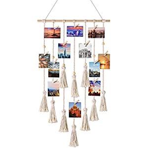 Mkouo Hanging Photo Displays Macrame Wall Hanging Picture Organizer with 30 Wood Clips Boho Decor for Home, Living Room, Bedroom, Ivory White, 108cm (L) × 43cm (W)