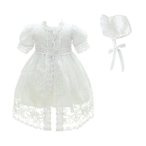 Glamulice Baby Girl Party Dress Christening Baptism Dresses Lace Princess Bow Formal Gown (6M/6-12 Months, White-3pcs)]()