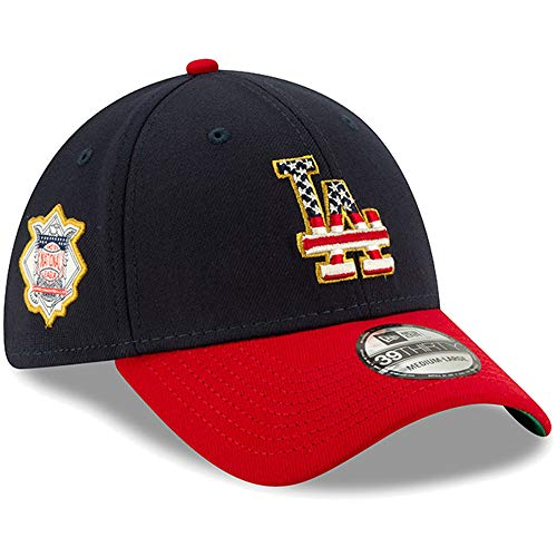 New Era Los Angeles Dodgers 2019 Stars & Stripes 4th of July 3930 39THIRTY Flexfit Cap Hat (L/XL) - L/XL