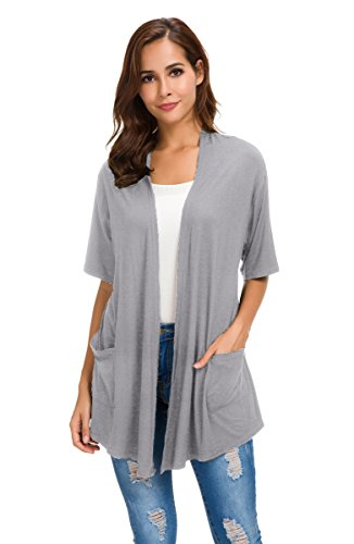 NB Womens Short Sleeve Open Front Lightweight Casual Comfy Long Line Drape Hem Soft Modal Cardigans Sweater with Two Pockets (Grey, M) by NB