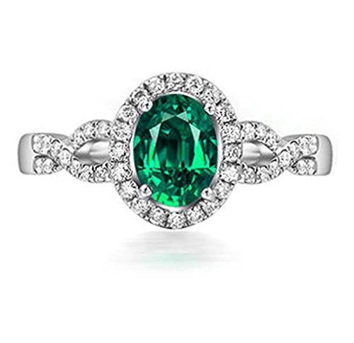 1 Carat esmeralda y anillo de compromiso de diamantes Halo en oro blanco