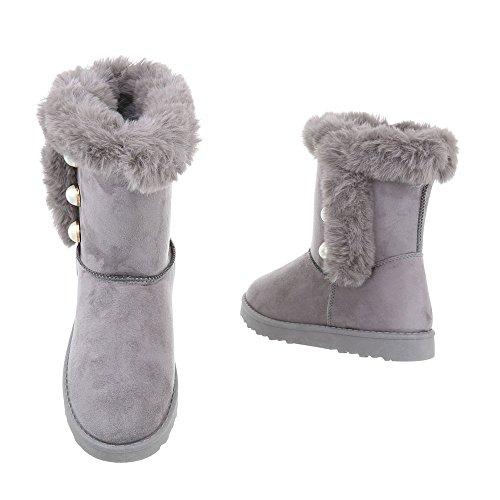 Zapatos para mujer Botas Plano Classic Botines Ital-Design gris clair