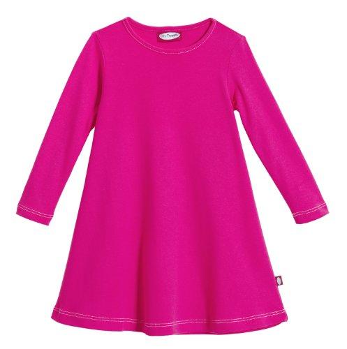 City Threads Little Girls' Cotton Long Sleeve Dress for School or Play for Sensitive Skin SPD Sensory Friendly, Hot Pink, 5