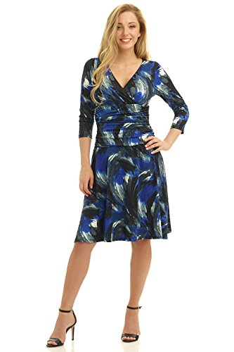 rekucci-womens-slimming-3-4-sleeve-fit-and-flare-crossover-tummy-control-dress-6brushstroke-blue