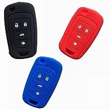TCKEY Protective Silicone Bag Holder Fob Skin Key Cover Key Jacket Protector Auto Keyless Fob Remotefor CHEVROLET Malibu Camaro Cruze Equinox Sonic Spark Volt Flip Key Case Fob 4Bts