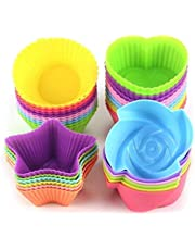 Silicone Cupcake Liners Reusable Baking Cups Nonstick Easy Clean Pastry Muffin Molds 4 Shapes Round, Stars, Heart, Flowers, 24 Pieces Colorful