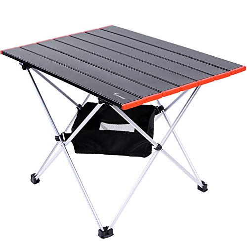 Sportneer Portable Camping Tables with Mesh Storage Bag, Ultralight Camp Folding Side Table, Aluminum Table Top Great…