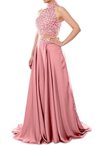 High Long Two Piece Gown Neck Evening MACloth Dress Prom Women Zartrosa Formal Chiffon q4w8H1XH