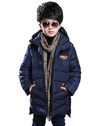 Boy's Winter Cotton Coat Warm Thick Hooded Jacket Outwear Puffer Coat (Navy) 12(Fit 10-11 Years Height 59