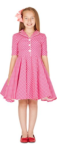 BlackButterfly Kids 'Sabrina' Vintage Polka Dot 50's Girls Dress (Pink, 13-14 YRS) (Pink Dresses For Kids)