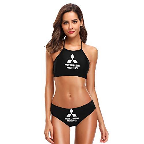 Mitsubishi Motors Logo Chic Bikini Halter Two Pieces Swimsuits for Women Black ()