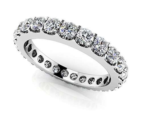 (14k White Gold (HallMarked) Shared Prong White Diamond Eternity Band Size - 4.5)