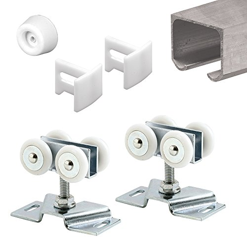 Slide-Co 162804 Sliding Track & Pocket Door Kit, 72 in. Extruded Aluminum Track, Rollers, Bumpers & Guides
