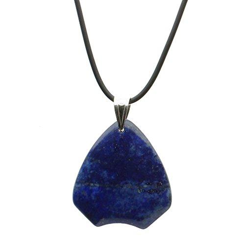 Joyful Creations Blue Lapis Stone Pendant Rubber Cord Necklace Sterling Silver Bail 16