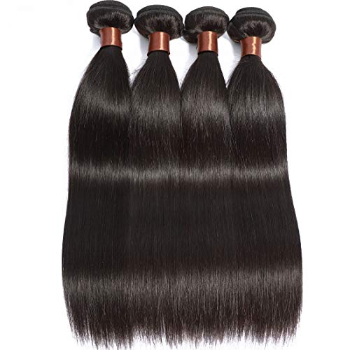 BLACKMOON HAIR Brazilian Unprocessed Human Hair 4 Bundles Silky Straight Unprocessed Unprocessed Remy Human Extension Weave Natural Black Color 95-100g/PC(16 18 20 22 Inch)