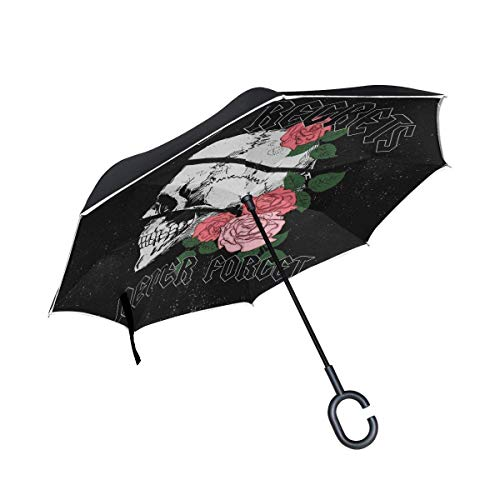 Gang Reverse (Badge Girl Gang Skull Inverted Umbrella Double Layer Windproof UV Protection Compact Car Reverse Umbrella)
