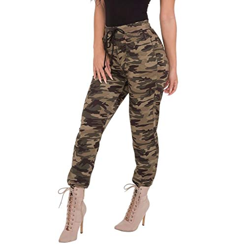 (SERYU Womens Camo Trousers Casual Pant Lace-Up Slim Tight-Fitting Stretch Pencil Pants)