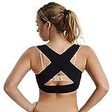 Joyshaper Back Support Bra for Women Posture Corrector Corset Bra X Strap Vest Prevent Humpback Plus Size (Black-1, S)