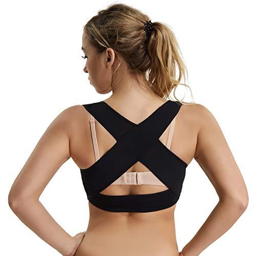 Joyshaper Posture Corrector Shapewear for Women Back Support Bra Chest Brace Up Corset X Strap Vest (Black, S)