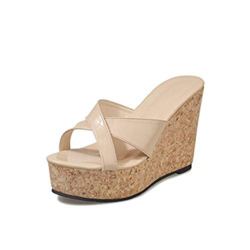 Wedges Platform Slides Sandals for Women Ladies Sexy High Heel Open Toe Slip on Dress Summer Roman Slipper Beige ()