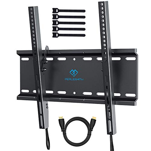 Tilting TV Wall Mount Bracket Low Profile for Most 23-55 Inch LED, LCD, OLED, Plasma Flat Screen TVs with VESA 400x400mm Weight up to 115lbs by PERLESMITH ()