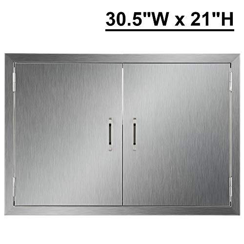 CO-Z Outdoor Kitchen Doors, 304 Brushed Stainless Steel Double BBQ Access Doors for Outdoor Kitchen, Commercial BBQ Island, Grilling Station, Outside Cabinet, Barbeque Grill, Built-in (30.5