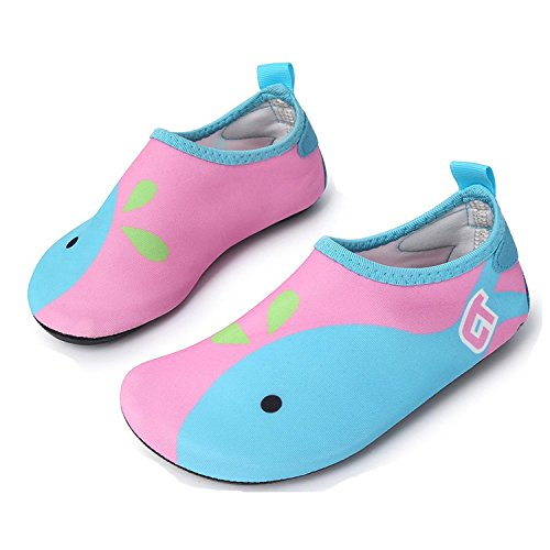 WXDZ Boys Girls Water Shoes Swim Shoes Quick Drying Barefoot Aqua Socks for Kids Beach Pool, Pink, 3-4 M US Toddler