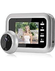 Campainha de vídeo com câmera, olho mágico da porta, campainha de vídeo, 2,4 polegadas durável para apartamento mais seguro para casa