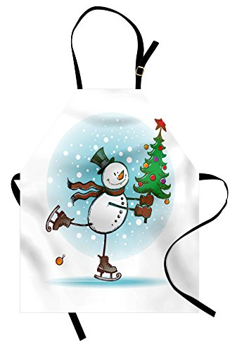 - Ambesonne Snowman Apron, Hand Drawn Style Skating Snowman with Christmas Tree and Hat Cold Winter Snowfall, Unisex Kitchen Bib with Adjustable Neck for Cooking Gardening, Adult Size, Pastel Blue