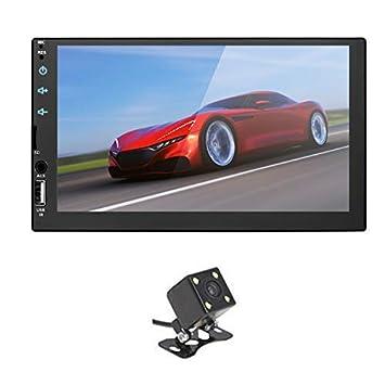 Summdey Espejo Link 2 DIN 7 Pulgadas Universal HD BT FM Radio MP5 Reproductor USB/TF Aux Entrada Full capacitancia Pantalla táctil Reproductor con cámara de ...