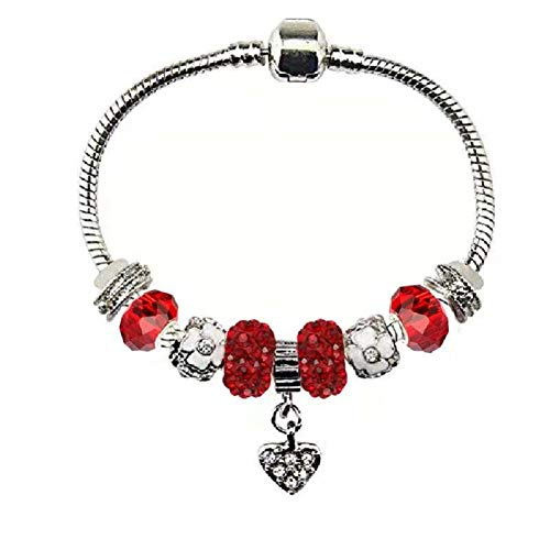 White Birch Fit Pandora Red Bracelet with January Birthstone Charms for Women and Girl Teen Girl Gifts Jewelry
