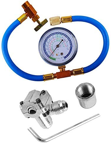R134a Charging HoseBPV31 Piercing Valve for Bullet Refrigerant Can TapGauge R134a can to R-12/R-22 port