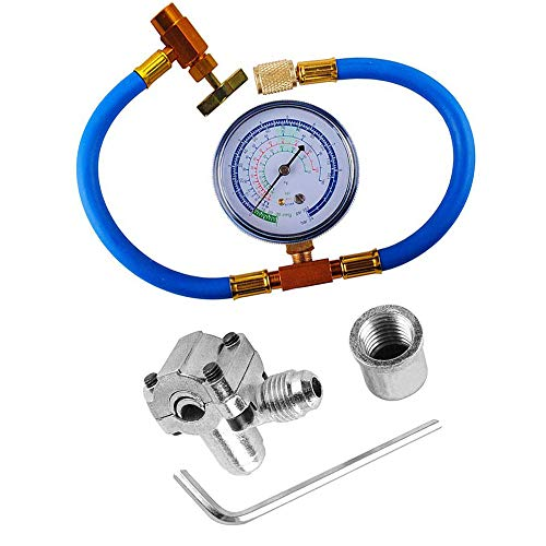 R134a Charging Hose with BPV31 Piercing Valve for Bullet, Refrigerant Can Tap with Gauge R134a can to R-12/R-22 port